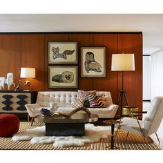 Warm up your home with a Jonathan Adler Whitaker sofa Casa Retro, Retro Home, Wood Paneling Decor, Mid Century Living Room, Mid Century Modern Furniture, Midcentury Modern Living Room, 70s Furniture, Entryway Furniture, Contemporary Furniture