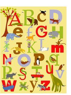 Alphabet Print poster 10 x 16 inches nursery wall by LizzyClara