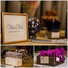 A stunning autumnal wedding in Chicago at the Iconic Drake Hotel featured gold painted pumpkins, classic Fall colors, and a little trick-or-treating! Photos by Kent Drake Photography  #FallWedding #AutumnWedding #FallColors
