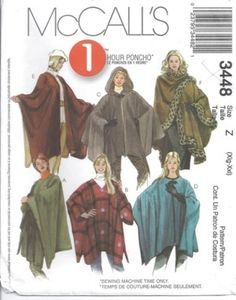 McCalls Pattern 3448, misses plus size cape poncho, easy to sew!