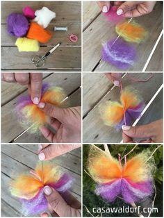 Mariposas de lana cardada   Casa Waldorf