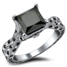 #blackdiamondgem  2.62ct Princess Cut Black Diamond Engagement Ring 14k White Gold With a 1.77ct Center Black Diamond and .85ct of Surrounding Diamonds #blackdiamondengagementrings http://blackdiamondgemstone.com/jewelry/wedding-anniversary/engagement-rings/262ct-princess-cut-black-diamond-engagement-ring-14k-white-gold-with-a-177ct-center-black-diamond-and-85ct-of-surrounding-diamonds-com/