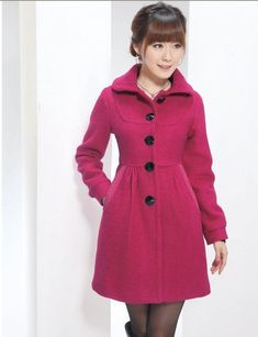 Some-characteristics-of-wool-coats-for-women - IT Zem Solutions womans pink coat - Woman Coats Winter Mode Outfits, Winter Fashion Outfits, Latest Fashion Clothes, Coats For Women, Jackets For Women, Clothes For Women, Dress With Bow, I Dress, Wool Coats