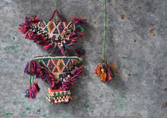 Vintage gypsy decor colourful tribal wall hanging by Faerymother