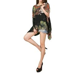 iNewbetter Women's Chiffon Caftan Poncho Tunic Top Cover up Shirt Scarf Top Scarf Top, Scarf Shirt, Tunic Blouse, Floral Blouse, Up Shirt, Floral Tops, Tunic Tops, Batwing Top, Cover Up