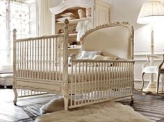 Gentle, light, traditional and practical! Crib expertly transforms to bed to last her through the years.