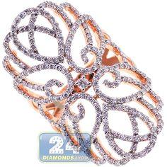 18K Rose Gold 1.82 ct Diamond Womens Filigree Ring