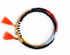 Multicolor Beaded Friendship Bracelet with Tassel by feltlikepaper
