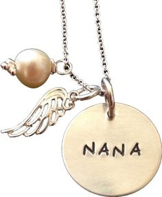 Love this! Mother's Day - Nana hand stamped necklace - Personalized Grandmother's Gift- Round disc with Wing
