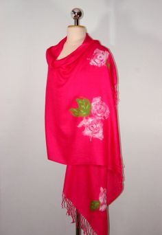 Pashmina Felted Scarf with Flowers Pink Scarf by Filtil on Etsy, $53.00