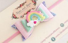 Rainbow Glitter Bow  Pastel Rainbow Glitter by RosesandBowsShop