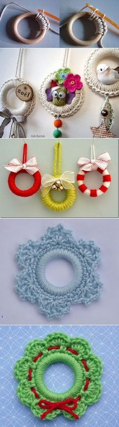 Crochet Patterns Christmas Crafts based on curtain rings their hands Crochet Christmas Decorations, Christmas Crochet Patterns, Holiday Crochet, Crochet Home, Crochet Gifts, Cute Crochet, Christmas Crafts, Lampe Crochet, Yarn Crafts