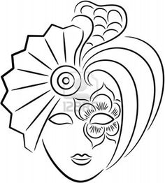 Illustration of A beautiful venetian carnival mask for new year or Halloween party, isolated. vector art, clipart and stock vectors. Mardi Gras, Venetian Carnival Masks, Mask Drawing, Coloring Book Pages, Doodle Art, Painted Rocks, Vector Art, Art Projects, Sketches