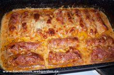 """Zapečené rolky"" | JITULČINY RECEPTY Lasagna, Bacon, Food And Drink, Meat, Breakfast, Ethnic Recipes, Morning Coffee, Pork Belly, Lasagne"