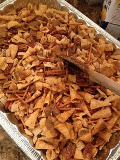 Texas Trash: 14 oz Rice Chex cerea,l 14 oz Corn Chex cereal, 1lb pretzel sticks, 7.5 oz regular Bugles, 9 oz deluxe mixed nuts, 1 c of pecans or cashews (or nut of your choice), 1-1/2 sticks butter, 2 T Steak Seasoning, 2 T Worcestershire sauce, 1 t garlic salt, 2 T garlic powder, 1 t - 1 T hot sauce (to taste).