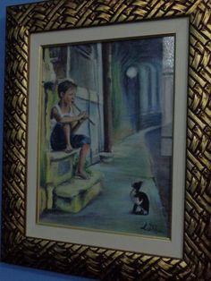 Luisa D'Acri - Trabalho em Pastel seco - 2013 - Gato observando rapaz.