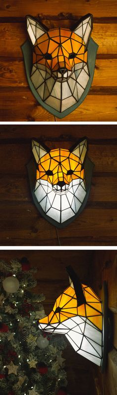 Fox Sconce made of stained glass in Tiffany technique. Handmade.