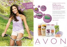 Brazilian woman a bicycle next to Avon Naturals products http://www.youravon.com/cbrenda007