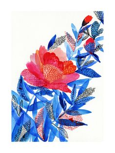 Love the mixture of the more hard edge graphic forms with the soft watercolor. Flower by Alexandra Dzh for Minted