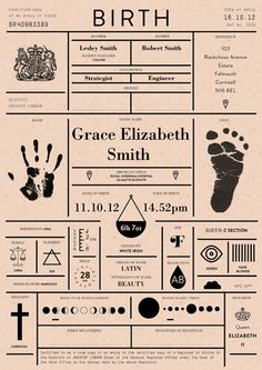 The Birth Certificate Redesigned. Every possible detail you could ever want to know about someone's birth presented in a clean modern layout.
