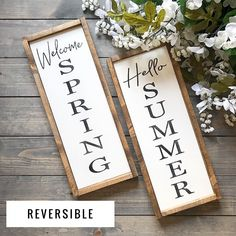 Learn Woodworking Welcome Spring Hello Summer Reversible Wood Sign - Welcome Spring, Spring Sign, Spring Door, Easy Woodworking Projects, Diy Pallet Projects, Woodworking Plans, Woodworking Furniture, Popular Woodworking, Woodworking Shop