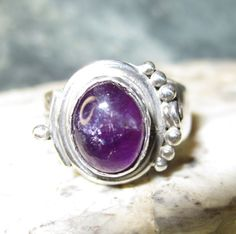 Sterling Silver Amethist Ring  Size 5 1/2 to 6  by Ollieburger, $18.00