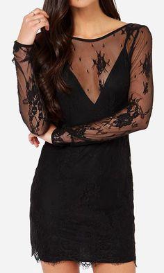 Lovers + Friends Grand Finale Black Lace Dress