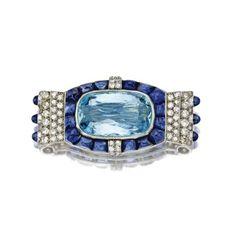Aquamarine, sapphire and diamond brooch, Cartier, Paris, circa 1930