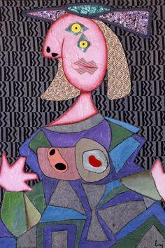 Enrico Baj, Femme d'apres Picasso, 1969, tecnica mista su stoffa, 130 x 92 cm. Courtesy of Palazzo Leone da Perego