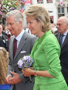 Queen Mathilde and King Philippe of Belgium are seen at the Hanswijck's Calvade on September 1, 2013 in Mechelen, Belgium