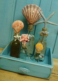 Vintage Apothecary Bottle Orange Scallop Seashell and Skeleton Key