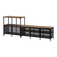 IKEA FJÄLLBO TV storage combination Black 250 x 36 x 95 cm This rustic shelf of metal and solid wood has an open back, so it's easy to arrange cords and access power sockets. Furniture, Solid Wood Shelves, Media Furniture, Living Storage, Ikea, Tv Bench, Tv Storage, Storage, Timeless Furniture