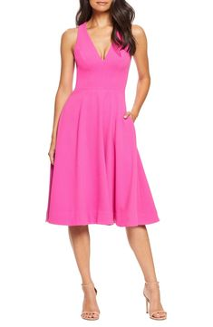 Women's Dress The Population Catalina Tea Length Fit & Flare Dress, Size XX-Small - Pink Fit And Flare Cocktail Dress, Fit Flare Dress, Cocktail Dresses, Petite Fashion Tips, Fashion Tips For Women, Womens Fashion, Dress For You, Dresses For Work, Best Wedding Guest Dresses
