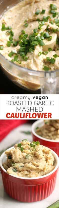Creamy Vegan Roasted Garlic Mashed Cauliflower