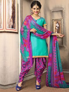 Sea Green Cotton Suit with Zari Work
