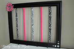 Black and Hot Pink Zebra Bow Holder. Clip Holder. Headband Holder Frame. Chic Room Decor. Customize to match any room.. $48.00, via Etsy.