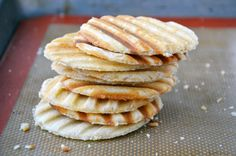 A simple batter is cooked on a panini press to form waffle wafers sandwiched together with Nutella. Cookie Desserts, No Bake Desserts, Cookie Recipes, Snack Recipes, Dessert Recipes, Snacks, Nutella Waffles, Nutella Cookies, Waffle Cookies