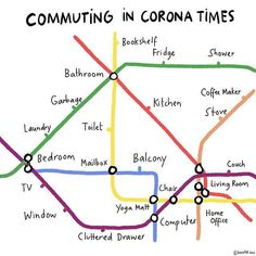 """Kera TillKera Till's """"Commuting in Corona Times"""" is a transit map of the new normal. More at Untapped New York. On a personal level, the coronavirus map I Living Room Yoga, Living Room Windows, Living Room Chairs, Funny Memes Tumblr, Love Memes, Funny Humor, Yoga Matt, Bric À Brac, Weekend Humor"""
