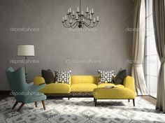 Luxury Living Room I Inspiration I Yellow I Green I Gray I Lamp I Carpet I Couch I Sofa I Turquoise & Yellow Arm Chair I White Carpet I