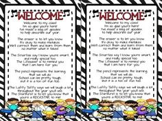 """This is the """"Welcome"""" to class goodie bag poem that many teachers use for Meet & Greet or Open House/Meet the Teacher Night. I just """"Rocked"""" it up with Rockstar graphics and colors to fit with Rockstar themed classrooms or just for those who like think their kiddos are Rockstars.Follow me on TPT for more fun, exciting products and FREEBIES."""
