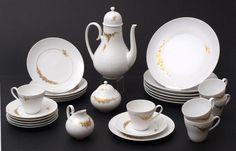 Kaffeeservice, B. Wijnblad für RosenthalKaffeekanne, Zuckerdeckeldose, Sahnegießer, sechs Kafeetas — Porzellan