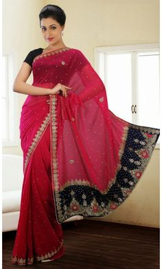 Butta Red Embroidered Saree #Bollywood-Replica-Sarees #Shopping-Saree-Online