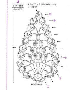 Seven small pineapple motif - Her Crochet Crochet Leaf Patterns, Crochet Jewelry Patterns, Crochet Earrings Pattern, Crochet Symbols, Crochet Leaves, Granny Square Crochet Pattern, Crochet Chart, Thread Crochet, Crochet Designs