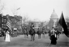 In 1913, thousands of women marched during Woodrow Wilson's Inaugural Parade to demand the vote.