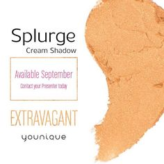 September is a great time to splurge. Not only have we released a bunch of new products but we are also bringing you Extravagant, a rich gold-colored shade of Splurge Cream Shadow! Link to order yours in my bio!! Share this post with a friend who looks great in gold!  #younique #3dfiberlashes #mascara #makeup #hypoallergenic #natural  #parabenfree #vegan #glutenfree #makeupartist #makeupblogger #hairstylist #usa #canada #uk #austrailia #newzealand #mexico #germany #3dplus #cosmetics #beauty