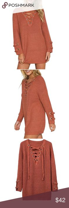 Women's knit pullover sweater Sweater dress in apricot Sweaters Shrugs & Ponchos