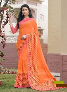 Fashionable Women Will Surely Like To Step Out In Style Wearing This Orange Colored Saree. A Must-Have In Your Ethnic Wear Collection, This Saree Features An Amazing Print All Over.