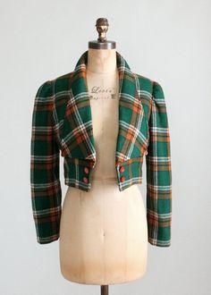 Vintage 1970s Plaid Wool Tuxedo Style Jacket