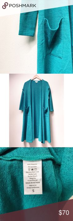 LuLaRoe Sarah Duster Cardigan LuLaRoe's Sarah Duster Cardigan is long, hitting around mid calf, and features a cropped long sleeve for easy movement and a flattering silhouette. Sarah is a fantastic layering piece for your wardrobe! This Sarah is a beautiful teal green.  ✅Offers On Items Over $10 ✅Bundle & Save 🚫Trades 🚫Off-Posh 🚫Modeling  💞Shop with ease; I'm a Suggested User.💞 LuLaRoe Sweaters Cardigans