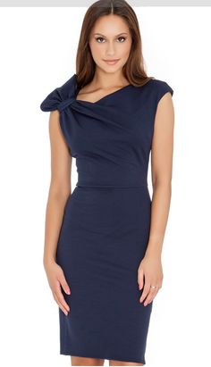 Vestido Azul Marino con moño en hombro